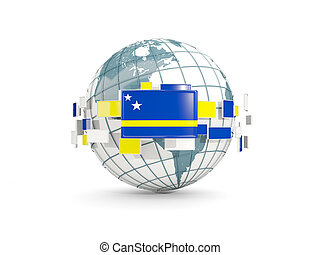 Globe with flag of curacao isolated on white