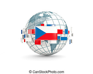 Globe with flag of czech republic isolated on white
