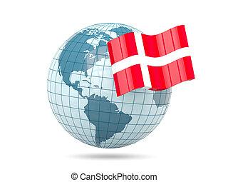 Globe with flag of denmark