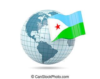 Globe with flag of djibouti