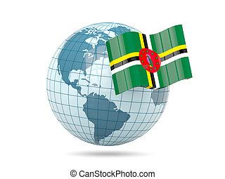 Globe with flag of dominica