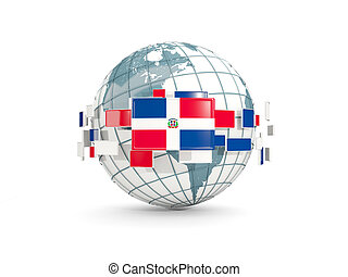 Globe with flag of dominican republic isolated on white