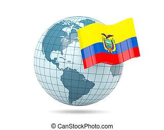Globe with flag of ecuador