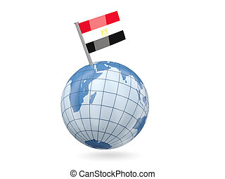 Globe with flag of egypt