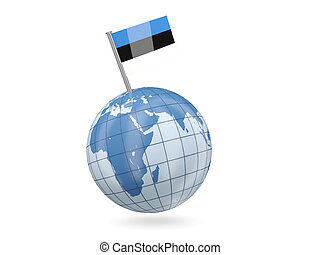Globe with flag of estonia