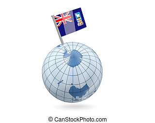 Globe with flag of falkland islands