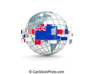 Globe with flag of falkland islands isolated on white