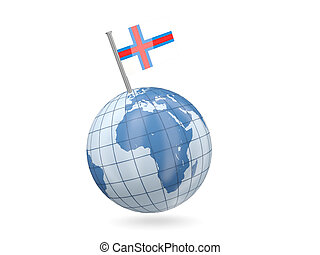 Globe with flag of faroe islands