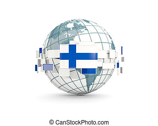 Globe with flag of finland isolated on white