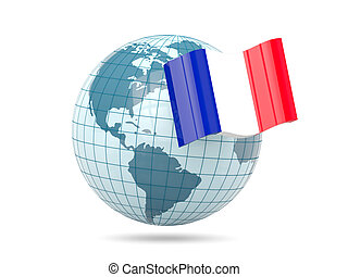 Globe with flag of france