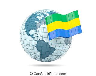 Globe with flag of gabon