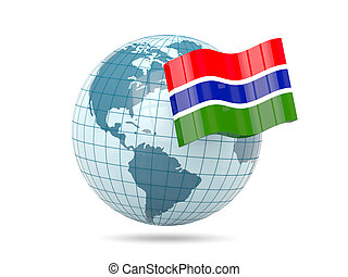 Globe with flag of gambia