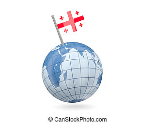 Globe with flag of georgia