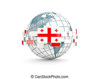 Globe with flag of georgia isolated on white