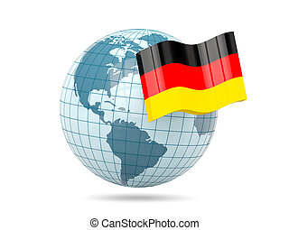 Globe with flag of germany