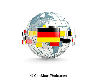 Globe with flag of germany isolated on white