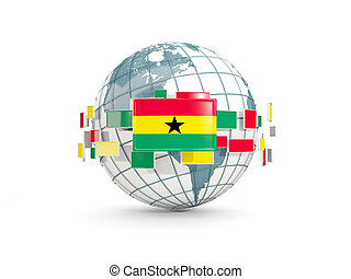 Globe with flag of ghana isolated on white