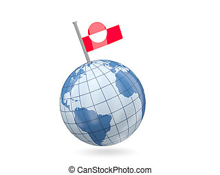 Globe with flag of greenland