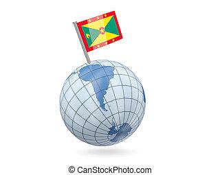Globe with flag of grenada