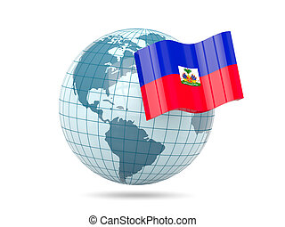 Globe with flag of haiti