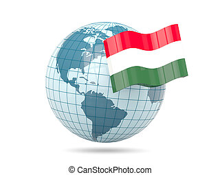 Globe with flag of hungary