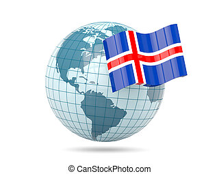 Globe with flag of iceland