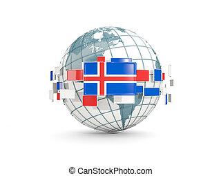 Globe with flag of iceland isolated on white