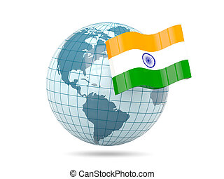 Globe with flag of india