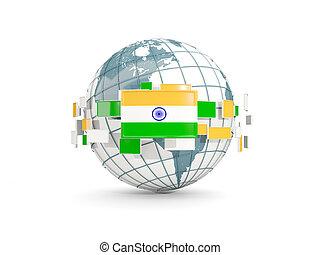 Globe with flag of india isolated on white