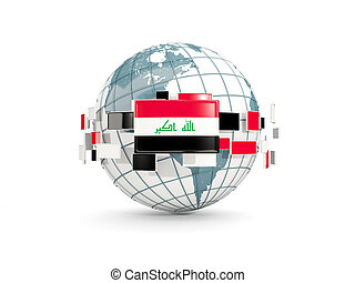 Globe with flag of iraq isolated on white