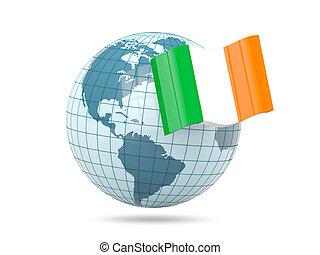 Globe with flag of ireland