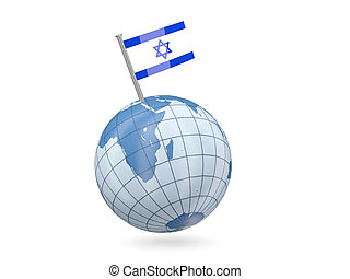Globe with flag of israel