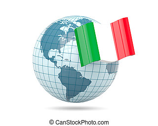 Globe with flag of italy