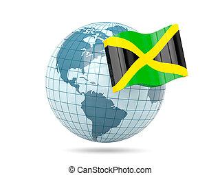 Globe with flag of jamaica
