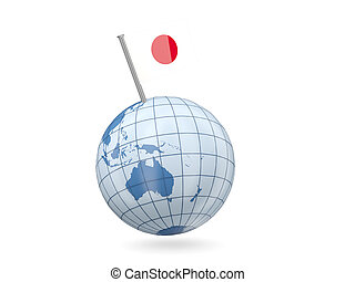 Globe with flag of japan