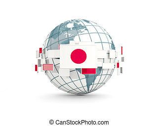 Globe with flag of japan isolated on white