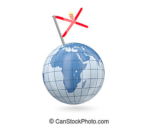 Blue globe with flag of jersey isolated on white