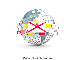 Globe with flag of jersey isolated on white