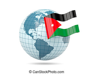 Globe with flag of jordan