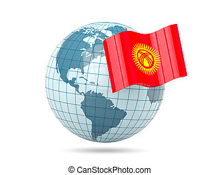 Globe with flag of kyrgyzstan