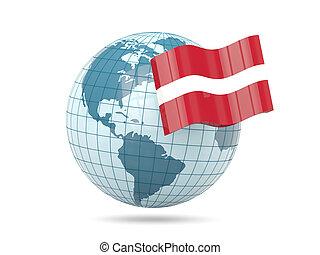 Globe with flag of latvia