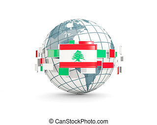 Globe with flag of lebanon isolated on white
