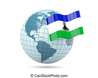 Globe with flag of lesotho