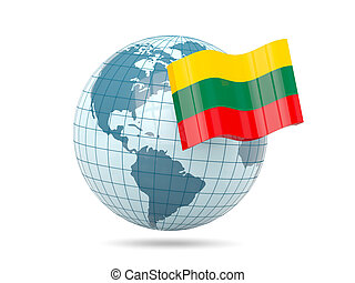 Globe with flag of lithuania