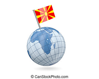 Globe with flag of macedonia