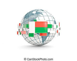 Globe with flag of madagascar isolated on white