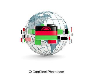 Globe with flag of malawi isolated on white