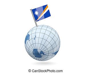 Globe with flag of marshall islands