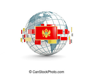 Globe with flag of montenegro isolated on white