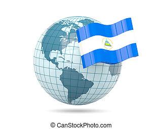 Globe with flag of nicaragua